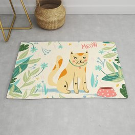 Meow cat - yellow and green Rug