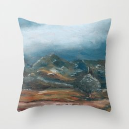 Storm brewing over rural landscape Throw Pillow