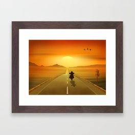 Biker On Route 66 Framed Art Print