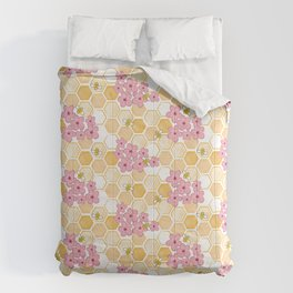 Cherry Blossom Bees Comforters
