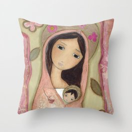 Madonna in Pink by Flor Larios Throw Pillow