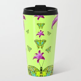 LIME COLOR PURPLE LILIES GREEN MOTHS Travel Mug