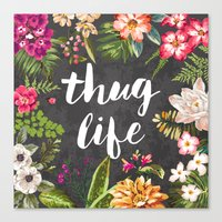 watercolor Canvas Prints featuring Thug Life by Text Guy