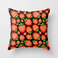 strawberry Throw Pillows featuring Strawberry by LaDa
