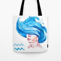 aquarius Tote Bags featuring Aquarius by Aloke Design
