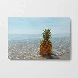 The pineapple and the ocean Metal Print