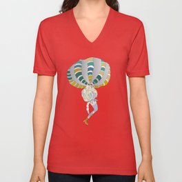 Girl who flies in her balloon dress Unisex V-Neck