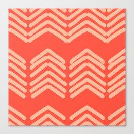 Zora's Chevron Pattern  - cream on bright coral Canvas Print