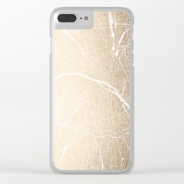 Paris France Minimal Street Map - Gold on White Clear iPhone Case