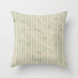 Herringbone // Jade Green Throw Pillow