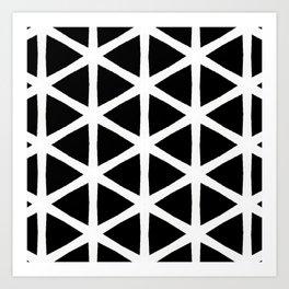 Modern Bold Black and White Triangle Pattern Art Print