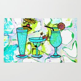 Summer Pool Party Cocktails , Watercolor Painting in Aqua Tequila Sunrise Colors Rug