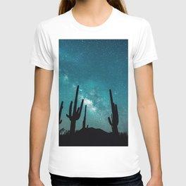 BLUE NIGHT SKY MILKY WAY AND DESERT CACTUS T-shirt