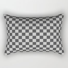 Black and White Checkerboard Carbon Fiber Pattern Rectangular Pillow