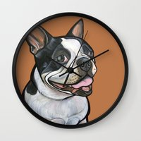 snoopy Wall Clocks featuring Snoopy the Boston Terrier by Pawblo Picasso