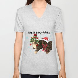 Happy Paw-lidays Unisex V-Neck
