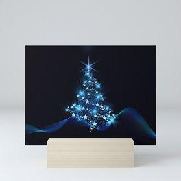 Sparkling Blue Christmas Tree Modern Stars Mini Art Print