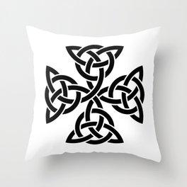 Celtic triquetra cross Throw Pillow