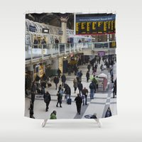 liverpool Shower Curtains featuring Liverpool Street Station London by David Pyatt
