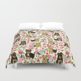 Yorkshire Terrier cute florals must have gifts for dog lover yorkie owners delight secret gifts art Duvet Cover