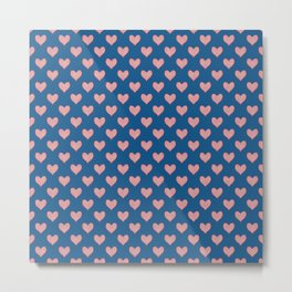Red Hearts on Navy Blue Metal Print