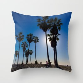 Sun on palm tree Throw Pillow