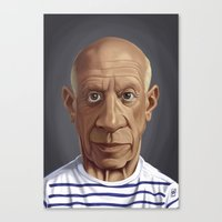 pablo picasso Canvas Prints featuring Celebrity Sunday ~ Pablo Picasso by rob art | illustration