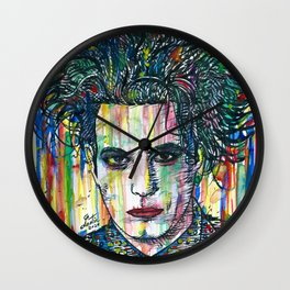 ROBERT SMITH watercolor and ink portrait Wall Clock