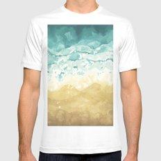 Minimalist Shore - Beach Painting MEDIUM Mens Fitted Tee White