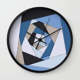 Abstract Blues Geometric Layers Wall Clock
