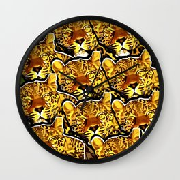leopard graphic montage Wall Clock