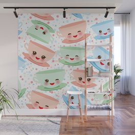 Cute blue pink green Kawai cup, coffee tea with pink cheeks and winking eyes, polka dot background Wall Mural