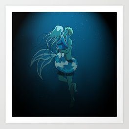 Love in deep water Art Print