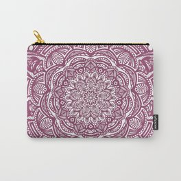 Wine Maroon Ethnic Detailed Textured Mandala Carry-All Pouch