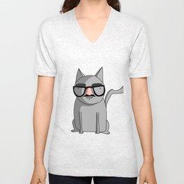 Cat with Groucho Glasses Unisex V-Neck