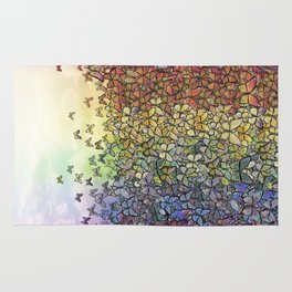 rainbow of butterflies aflutter Rug