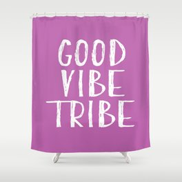 Good Vibe Tribe - Light Purple and White Shower Curtain