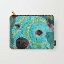 Aqua And Blue Mandala Dog Art - Sharon Cummings Carry-All Pouch