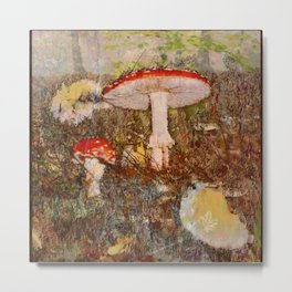 Forest scene with mushrooms in Fall Metal Print