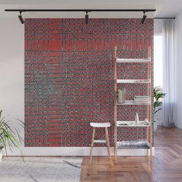 Left - Red and turquoise Wall Mural