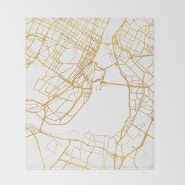MONTREAL CANADA CITY STREET MAP ART Throw Blanket