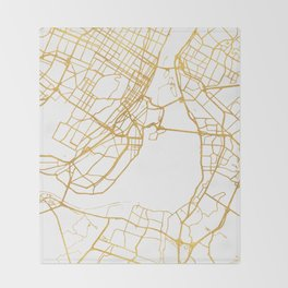 MONTREAL CANADA CITY STREET MAP ART Throw Blanket