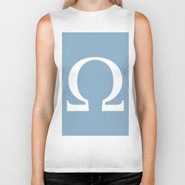 Greek letter Omega sign on placid blue background Biker Tank