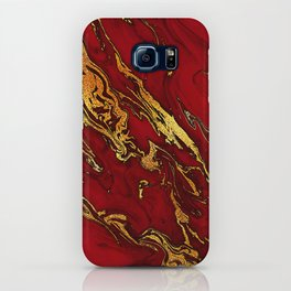 Chic Elegant Fire Red Ombre Glitter Marble iPhone Case