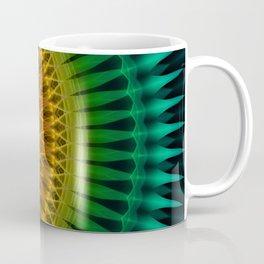 Green and yellow spikes mandala Coffee Mug