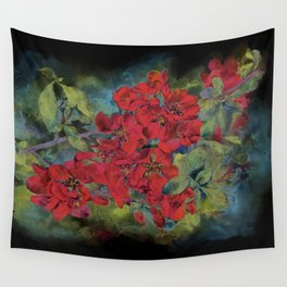 The flowering quince . Black background Wall Tapestry