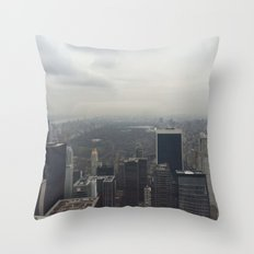 Central Park in the Fog Throw Pillow
