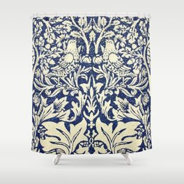 Brother Rabbit - Sand on Navy, William Morris Shower Curtain