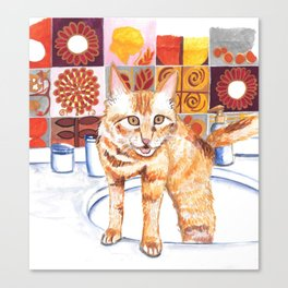 Gouache Cat  Canvas Print