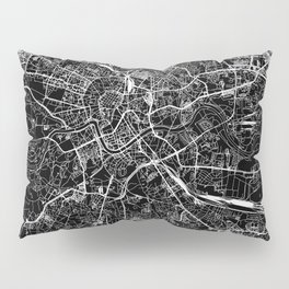 Krakow Black Map Pillow Sham